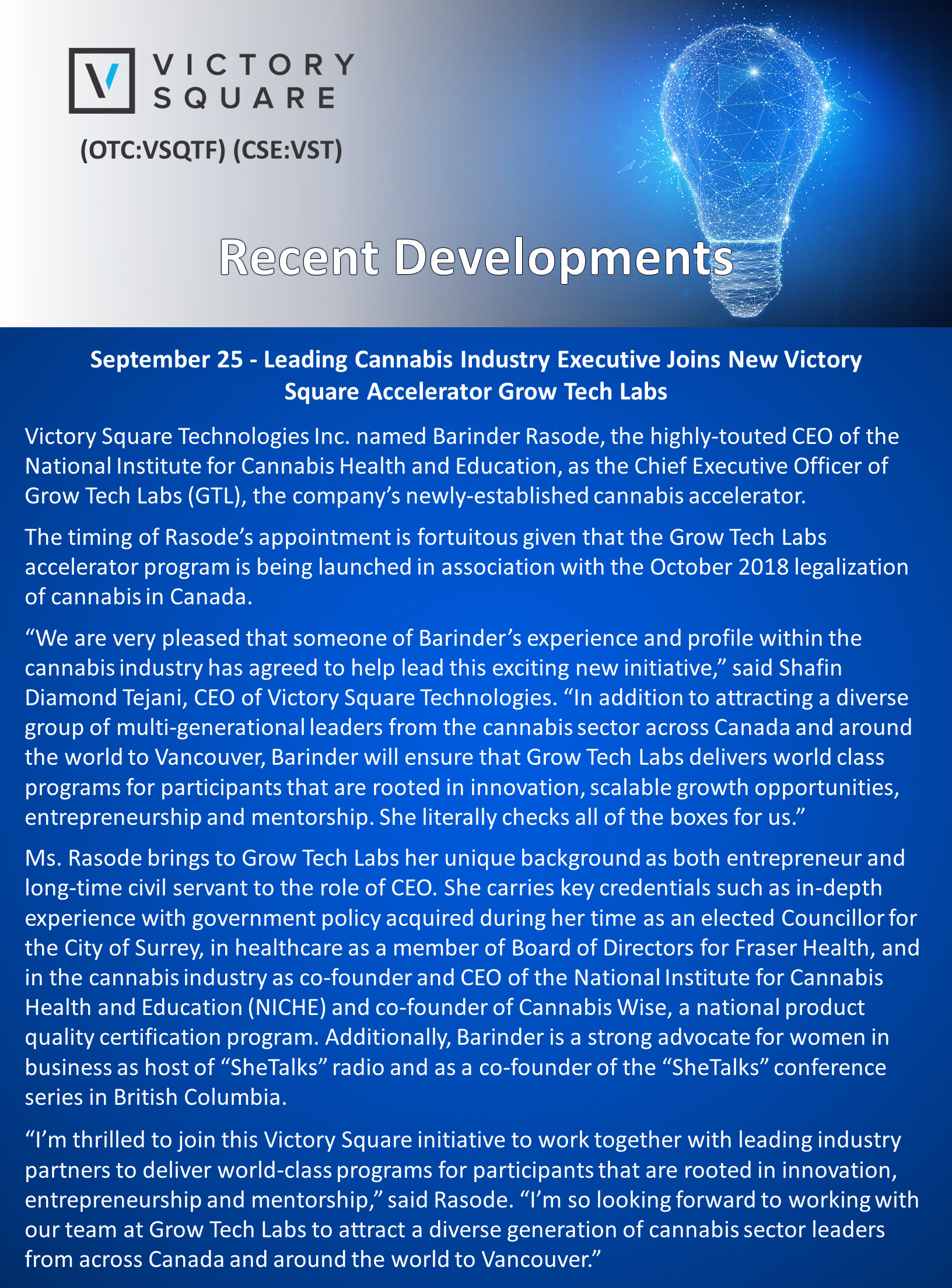 The Continued Buzz Surrounding Victory Square Technologies Inc  (OTC